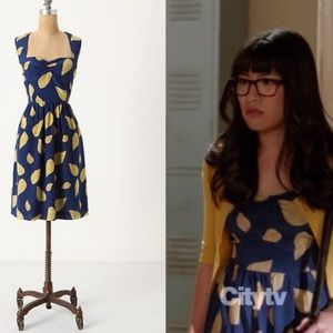 "Anthropologie Maple ""Tupelo"" leaf print silk dress"